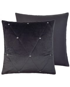 Diamante Velvet Pewter Silver Quilted Cushion
