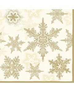 Christmas Snow Crystals Gold Pack of 20 Paper Napkins Serviettes