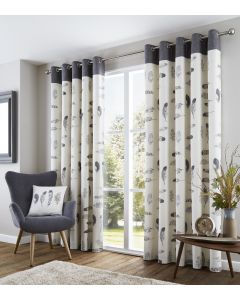Idaho Charcoal Feathers Ring Top Curtains