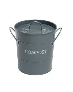 ECO GREY FOOD COMPOST PAIL BIN BUCKET STAINLESS STEEL