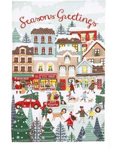 Christmas Shopping Town Scene Tea Towel - Ulster Weavers