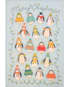 Christmas Penguin Lights Blue Tea Towel