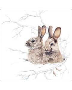 20 Christmas This Winter Morning Hares Napkins Serviettes