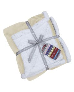 Lux Sherpa Fleece Throw Natural