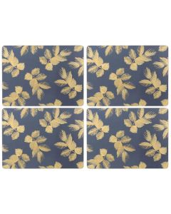 Sara Miller Etched Leaves Navy Set of 4 Large Placemats