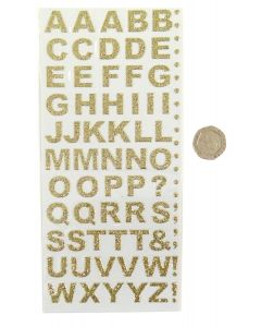 Pack of 55 Gold Bold Letters Craft Stickers