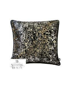 Laurence Llewelyn-Bowen  Animal Black Gold Velvet Cushion 17""