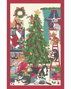 Christmas Tree Cats Kittens Tea Towel