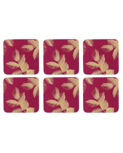 Sara Miller Etched Leaves Dark Pink Set of 6 Coasters
