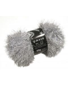 50g Ball of Tinsel Chunky Wool in Silver