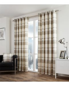 Balmoral Check Natural Eyelet Fully Lined Curtains