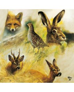 Wild Animals Collage Stag Deer Fox Grouse Hare Paper Napkins