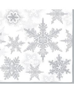 Christmas Snow Crystals Silver Pack of 20 Paper Napkins Serviettes