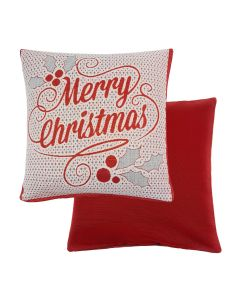 "Glitter Merry Christmas Red Cotton Cushion cover 17"" - 43cm"