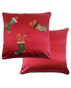 """Christmas  Embroidered Stocking Red Faux Silk Cushion 18""""- 45CM"""