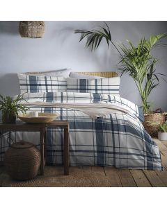 Appletree Navy Brampton Check Duvet Cover Set
