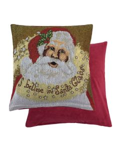 """Santa Claus Father Christmas I Believe Woven Cushion Cover 18"""" - 45CM"""