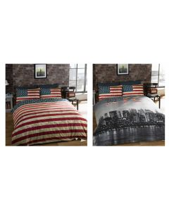 America New York City Skyline Reversible Flag Cotton Duvet Comforter Cover