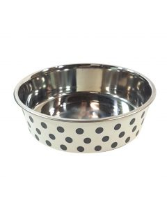White Stainless Steel Polka Dots Non Slip Dog Bowl