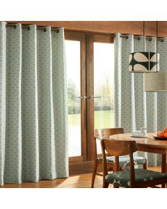 Orla Kiely Woven Acorn Cup Mid Powder Blue Lined Eyelet Curtains