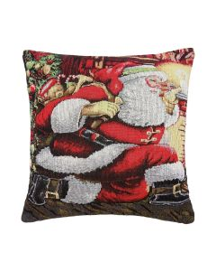 """Father Christmas Woven Tapestry Cushion Cache 17"""""""