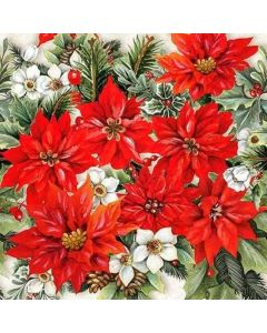 Poinsettia All Over Pack of 20 Christmas Paper Napkins