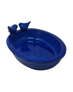Esschert Design Ceramic Oval Bird Bath Blue