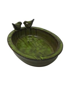 Esschert Design Ceramic Oval Bird Bath Green