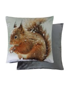 "Winter Squirrel Velvet Reversible Cushion Cover 17"" - 43cm"