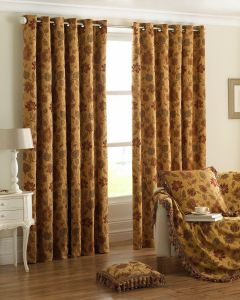 Zurich Jacquard Gold Ring Top Fully Lined Curtains