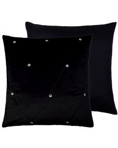 Diamante Velvet Black Quilted Cushion