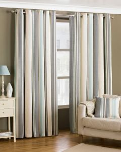 Broadway Duck Egg Blue Vertical Stripe Eyelet Lined Curtains