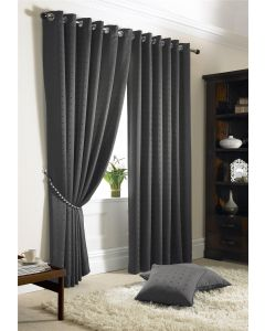 Madison Charcoal Eyelet Curtains Fully Lined