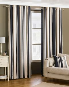 Broadway Black Vertical Stripe Eyelet Lined Curtains