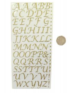 Pack of 55 Gold Stylised Letters Craft Stickers