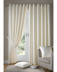 Madison Cream Ring Top Eyelet Lined Curtains