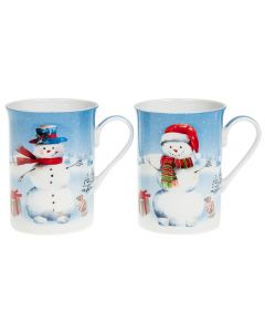 2 x Christmas Snowman Boxed Mugs