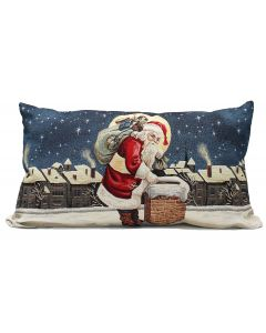 Peggy Wilkins Moonlight Visit Santa Filled Cushion