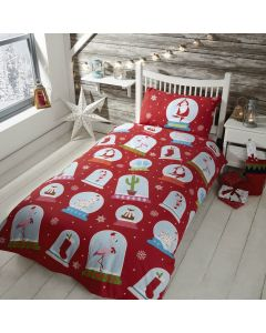 Snowglobe Red Single Duvet Cover