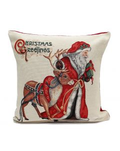 Peggy Wilkins Rudolph Christmas Greetings Cushion