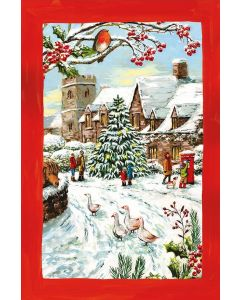 Christmas Robin In The Village Large Tea Towel 100% Cotton