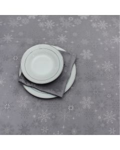Peggy Wilkins Snow Crystal Table Linen Grey