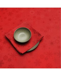 Peggy Wilkins Snow Crystal Table Linen Red