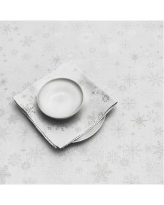 Peggy Wilkins Snow Crystal Table Linen White Silver