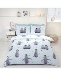 Starry Penguins Ice Duvet Cover
