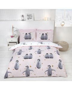 Starry Penguins Pink Duvet Cover