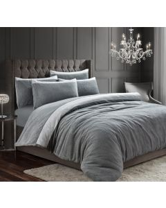 Teddy Beaux Shimmer Silver Duvet Cover