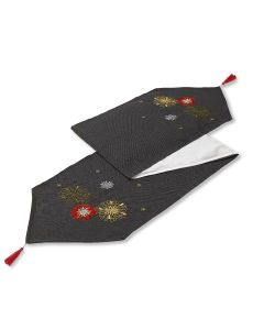 "Christmas Xmas Party Charcoal Table Runner 13"" x 72"" (33 x 183cm)"