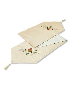 "Christmas Xmas Robins Cream Table Runner 13"" x 72"" (33 x 183cm)"