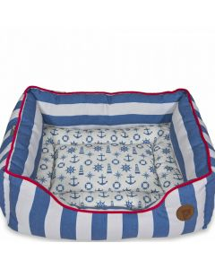 NAUTICAL SQUARE DOG BED PETFACE